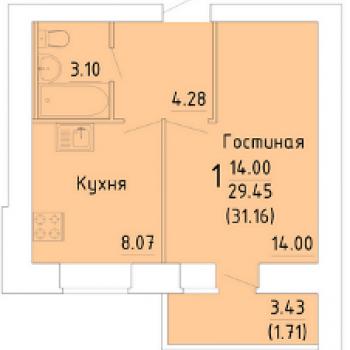 ЖК Зеленый город (Вологда) – планировка №4