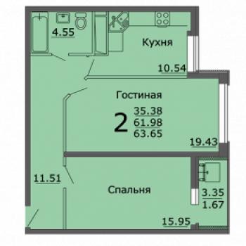 ЖК Берег (Воронеж) – планировка №1