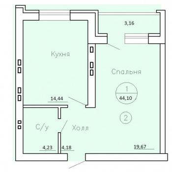 ЖК Рождественский (Воронеж) – планировка №6