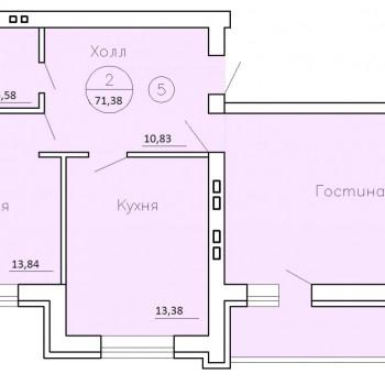 ЖК Рождественский (Воронеж) – планировка №2