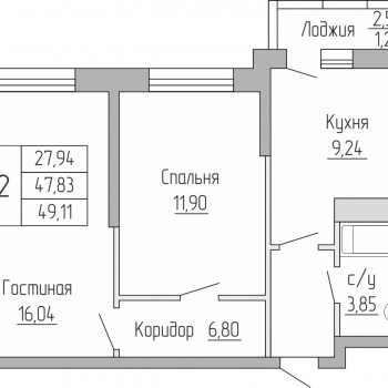 ЖК Пароход (Воронеж) – планировка №5