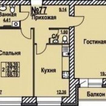 Жилой комплекс На Рождественской (Ярославль) – планировка №3