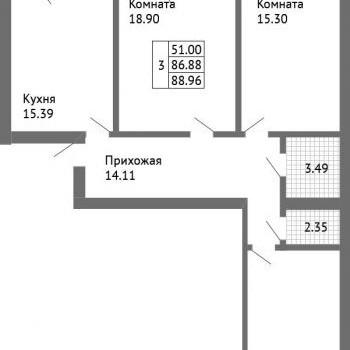 ЖК Дом на Совхозной (Ярославль) – планировка №3