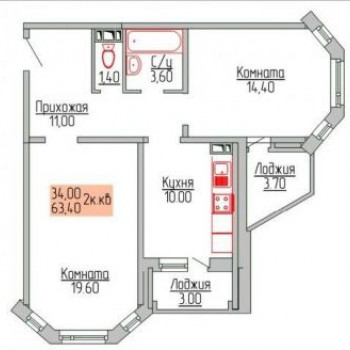 Дом на Карла Либкнехта (Ярославль) – планировка №1